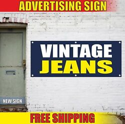Vintage Jeans Advertising Banner Vinyl Mesh Decal Sign Pawn Shop Store Clothes