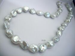 Hs Rare Keshi South Sea Cultured Pearl 12.35x16.3mm Necklace 17 3/4 Inches 18kyg