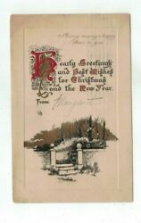 1910 embossed Christmas Post Card Gold Foil Art Deco Brick Wall Trees