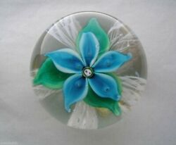 Captivating Plush 1969 Vaseline Glass Paperweight Date Cane Latticino With Label