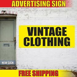 Vintage Clothing Advertising Banner Vinyl Mesh Decal Sign Pawn Shop Second Hand