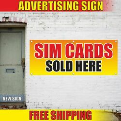 Sim Cards Sold Here Advertising Banner Vinyl Mesh Decal Sign Phone Shop Open 24