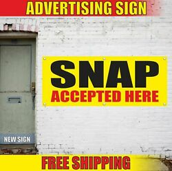 Snap Accepted Here Advertising Banner Vinyl Mesh Decal Sign Ebt Cards Food Stamp