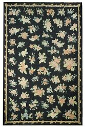Black Handmade 11and039 X 17and039 Needlepoint Floral Semi-antique Minor Repair Rug