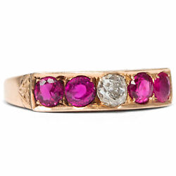 Victorian Um 1900 Antique Ring With Rubies And Diamonds, 750 Gold Ruby Diamond