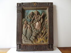 ANTIQUE OAK HAND CARVED RELIEF  MOTHER MARY AND JESUS LAST JUDGMENT 3D ART