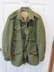Us Field Jacket M-1951 Menand039s Size Small Long Korean War Era With Liner Od Green