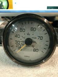 Used Outboard Faria Speedometer Gauge 10-80 Mph