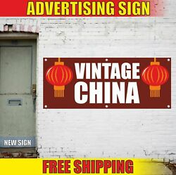 Vintage China Advertising Banner Vinyl Mesh Decal Sign Antique Shop Pawn Thrift