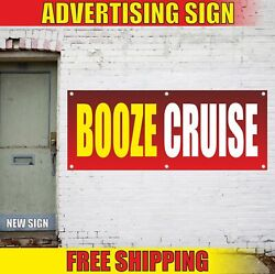 Booze Cruise Advertising Banner Vinyl Mesh Decal Sign Drink Tours Alcohol Voyage