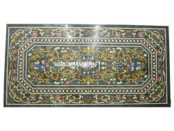 2.5'x5' Black Marble Dining Table Top Beautiful Pietra Dura Inlaid Gifts H3024