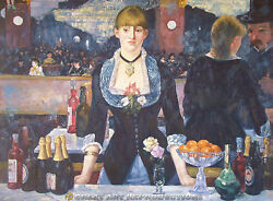 A Bar At The Folies Bergere, Manet, Reproduction In Oil, 52x32