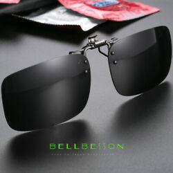 Polarized Sunglasses Flip-up Clip On Driving Glasses Day Night Vision Lens UV400