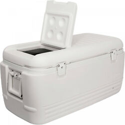 Large Ice Chest Insulated Igloo Cooler 100 Quart Qt Cold Marine Fishing White $88.87