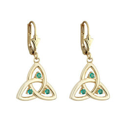 10k Yellow Gold Genuine Emerald Celtic Irish Trinity Knot Drop Earrings s33550