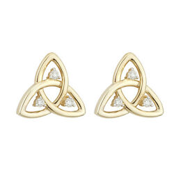 Solvar 14k Yellow Gold Diamond Celtic Irish Trinity Knot Stud Earrings s33501