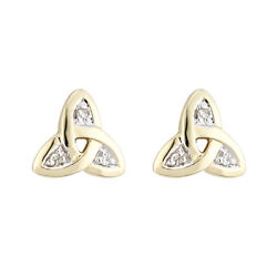 Solvar 14k Yellow Gold Diamond Irish Trinity Celtic Knot stud Earrings  s3969