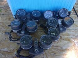 Box Of Assorted 1970and039s-1980and039s Used Vintage Kawasaki Gauges And Parts27-b03-03