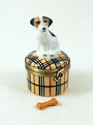 NEW FRENCH LIMOGES BOX JACK RUSSELL TERRIER DOG PUPPY ON DESIGNER PLAID W BONE