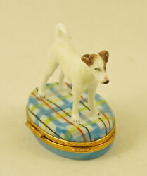 NEW FRENCH LIMOGES BOX JACK RUSSELL TERRIER DOG PUPPY ON DESIGNER PLAID
