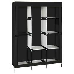 71quot; Portable Clothes Storage Closet Organizer Wardrobe Rack Shelves Fabric Steel