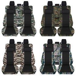 Fits 2019 Ford F150 Truck Seat Covers Front Rear Camo Pattern Black Center Abf