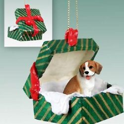 BEAGLE Christmas GREEN GIFT BOX Dog Ornament HAND PAINTED resin FIGURINE puppy
