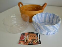 Longaberger, Button Basket, Blue And White Striped Fabric, Protective Liner