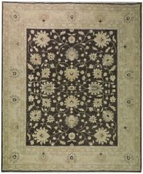 Brownish Vegetable Dyed Traditional Peshawar 8and039 X 10and039 Black Oushak Rug
