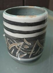 Handthrown 1970's Japanese Style Earthenware Pottery Pencil Paintbrush Cup Mug