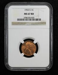 1953-s Lincoln Wheat Cent Ngc Ms 67 Red