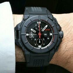 Snyper Menand039s One Black Dial Rubber Strap Chronograph Automatic Watch . Awesome