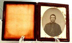 Ambrotype Of Civil War Soldier In Case Piping On Collar Watch Chain More