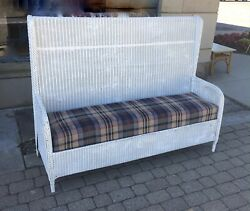 Antq C.1900s-1920s Tall Old Wicker Settle Bench Hallseat/porch-bar Harbor Style