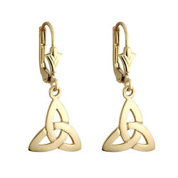 Solvar 14k Gold Irish Trinity Celtic Knot Drop Dangle Leverback Earrings s3734