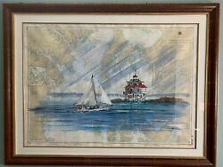 Kerry Hallam- Chesapeake Bay. Signed Original Mixed Media Nautical Chart Framed