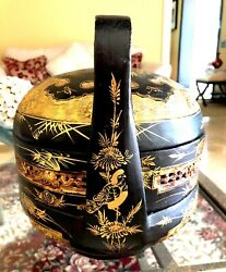 Meiji Period Japanese Jubaku Bamboo 3 Tiered Bento Box Gold And Black Lacquer