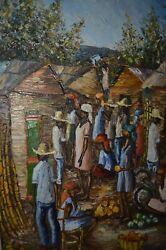 OM Osmond Christophe Signed Haitian Village Haiti Original Painting VTG 70s