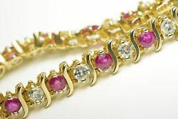 Ruby And Diamond Tennis Bracelet 14k Yellow Gold 6.00cts Tcw H Color I1 Length 7