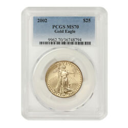 2002 25 Gold Eagle Pcgs Ms70 Uncirculated Graded American Bullion 22kt Coin