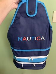 Nautica Beach Cooler Tote Collapsible NEW Holds 18 Cans Plus Mesh Backpack $27.00