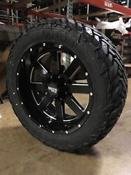 22x10 Moto Metal Mo962 Black Wheel And Tire Package 35 Fuel Mt 6x5.5 Chevy Gmc