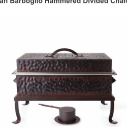 Jan Barbaglio Hammered Divided Chafer Large Warming Covered Dish 1900