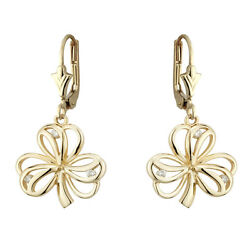 Solvar 9k Gold Irish Celtic Lucky Shamrock Drop Leverback Earrings s33540