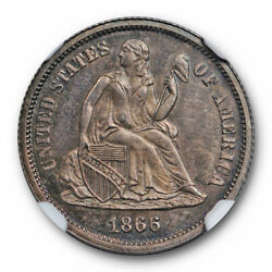 1866 10c Seated Liberty Dime Ngc Pr 65 Proof Key Date Toned Low Mintage Cert...