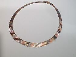 Rose White And Yellow Gold Cleopatra Necklace - Signed Italy Vlb - 17 Inches