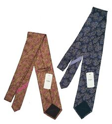 New  Silk Tie Italy Paisley Pattern Light Brown Or Blue