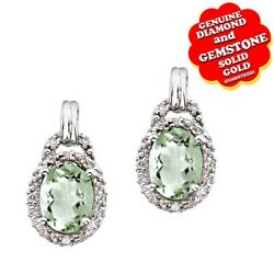 4.24 Ct Oval Green Amethyst And Real Diamond 14k White Gold Stud Earrings