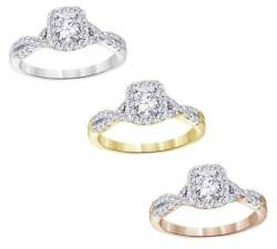Valentine's Day .90Ct Cushion Shaped Diamond 14k Gold Solitaire Bridal Ring