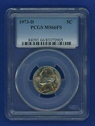 1973 D Pcgs Ms66fs Jefferson Nickel 5c Us Mint 1973-d Pcgs Ms-66 Fs Super Pq